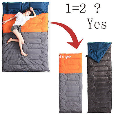 Large Size Double Sleeping Bag Waterproof Camping  Travel Sleep Cozy Thick Warm