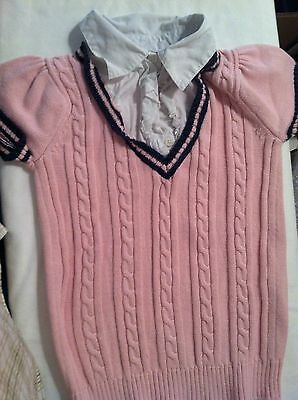 Gymboree Pink Sweater w/ White Collar Shirt All In One - Size M 7-8 - Excellent