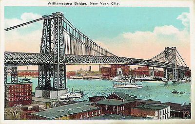 Vintage Williamsburg Bridge Postcard New York City H. Finkelstein Unused