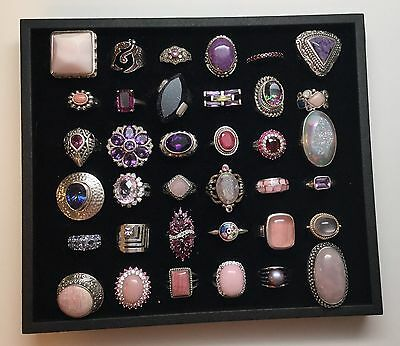Lot Of 36 Sterling Silver Rings With Pink And Purple Stones