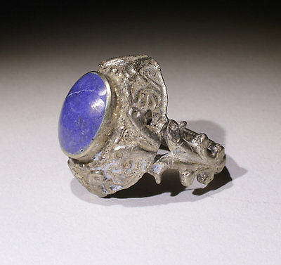 Nice Post Medieval Silver & Lapis Ring - No Reserve!