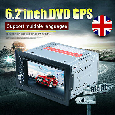 "6.2"" 2 Din In Dash GPS Sat Nav HD Car Stereo DVD Player Bluetooth + Rear Camera"