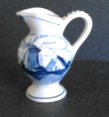 Vintage Delft Blue & Whitewindmill Pitcher W/ Handle 3 Inches Hand Painted