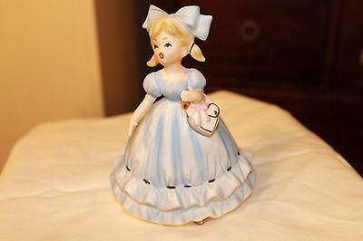 Vtg Napco Napcoware Birthday Girl Blue Dress Heart PursePlanter C6435 6""