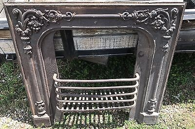 Antique Victorian Cast Iron Fireplace Surround With Grate