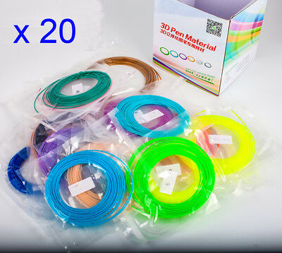 20 Pack x 5m ABS Filament para 3D Drawing Printing Pen 1.75mm -20 colors TH88