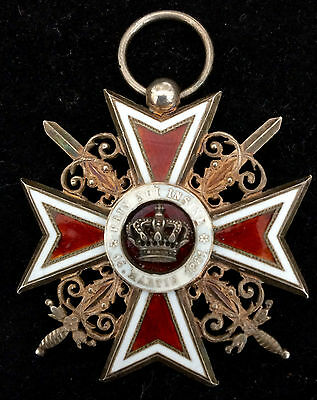 Order of the Crown of Romania 1916 STERLING GILT SILVER SWORDS ENAMEL