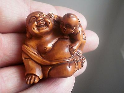 Hand Carved wood netsuke monk with child, vintage / antique style treen figure