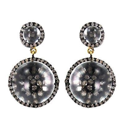 1.65ct Diamond Pave 925 Sterling Silver Crystal Dangle Earrings 14k Gold Jewelry