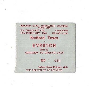 Bedford Town v Everton (Winners), 1965/66 - FA Cup 4th Round Match Ticket