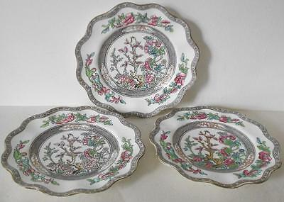 "3 Antique Coalport Indian Tree Scalloped Bread & Butter Plates  ""england"" Mark"