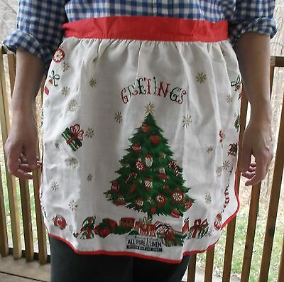 Vintage 1960s PURE LINEN CHRISTMAS APRON Red Green Gold & Cream Tree & Gifts