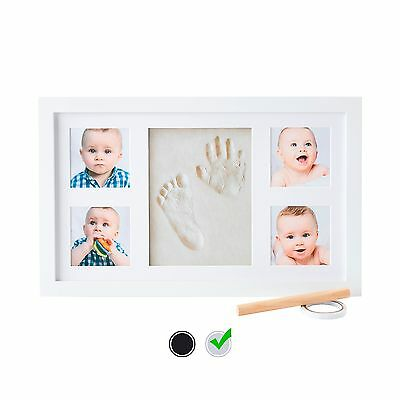 Baby Handprint Kit by Little Hippo - Baby Picture Frame (WHITE) & Non Toxic C...