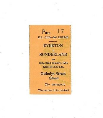 Everton (Winners) v Sunderland, 1965/66 - FA Cup 3rd Round Match Ticket