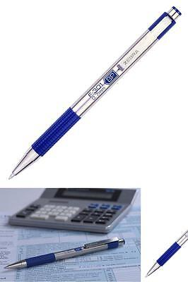 Zebra F Stainless Steel Retractable Ball Point Pens 0 7Mm  Blue Ink Fine 12 Pack