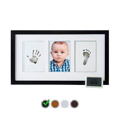 Little Hippo Baby Footprint & Handprint Kit - Baby Picture Frame (BLACK) & No...
