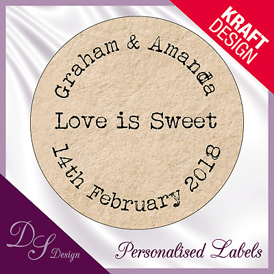 DSD045 Personalised LOVE IS SWEET Wedding Stickers Labels Kraft Effect Favours