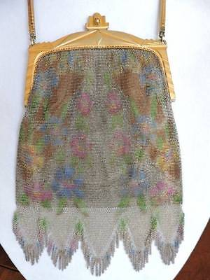 Antique Art Deco Whiting & Davis Fine Mesh Purse with Mirror Floral Watercolor