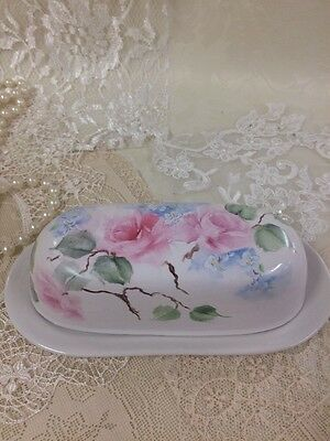 Shabby Antique Style Hand Painted Covered Butter Dish Pink Roses Blue Flowers
