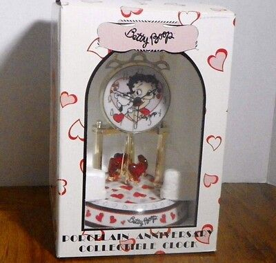 New 2007 Betty Boop Porcelain Glass Anniversary Hearts Clock Original Box Rare