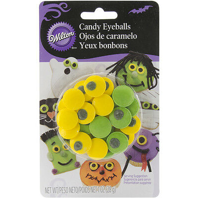 Candy Decorations 24/Pkg Green & Yellow Eyeballs W7100132