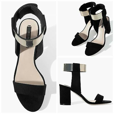 Zara High Heel Sandals Shoes With Metallic Ankle Strap Size Uk 4_5_6_8 New