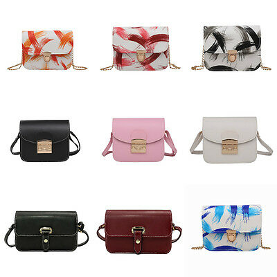 Vintage Women PU Leather Mini Messenger Bag Shoulder Crossbody Bag Tote Purse