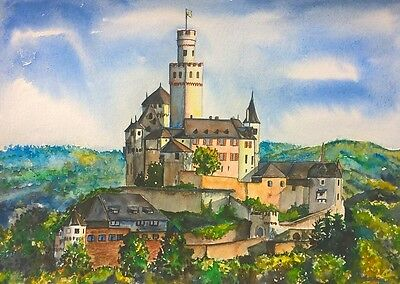 -- Schloss Marksburg -- Aquarell watercolor 21 x 29,7 cm