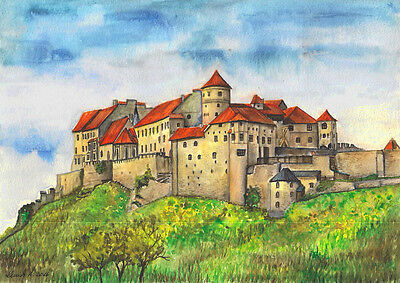-- BURG BURGHAUSEN -- Aquarell watercolor 21x 29,7 cm
