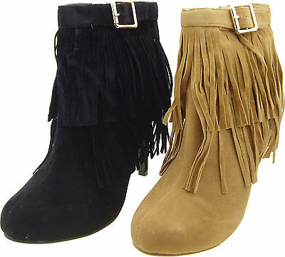 New Women's Western Fringe Moccasin Boots High Heel, Ankle Booties size:5-10
