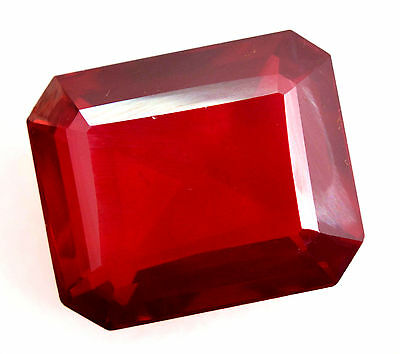 51.55Ct Natural Huge Blood Red Mozambique Ruby GGL Certified Emerald CutGemstone