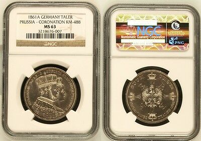 1861A Germany Prussia Taler Coronation Ngc Ms 63