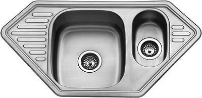 Double 1.5 Bowl Stainless Steel Kitchen Sink & Drainer Plumbing & Waste Kit 872