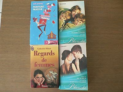 Lot Livres  4  Romans Harlequin Collection Blanche  + Piment