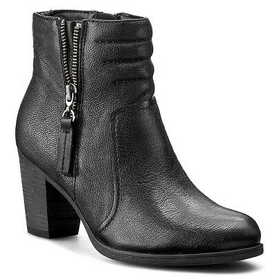 Clarks Ladies Palma Trina Black Leather Ankle Boots Size 4/37