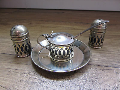 Vintage Epns Cruet Set Complete With Liners Spoon & Tray