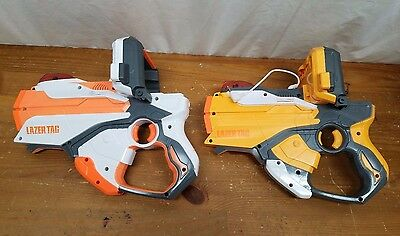 2 NERF LAZER TAG BLASTERS W/ iPHONE iPOD DOCK 2012- Tested and Working
