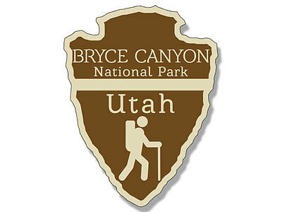 3x4 inch Arrowhead Shaped BRYCE CANYON National Park Sticker -rv hiking camping