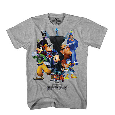 Official Licensed Disney Kingdom Hearts Mens Mickey Stitch Goofy Graphic T Shirt