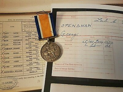 WW1 British War Medal Pte George Openshaw Labour Corps