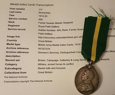 WW1 Territorial Efficiency Medal Farrier QM Serjeant 3/ East Lancashire, R.F.A