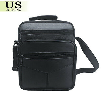 Black Men Shoulder Bag Leather Briefcase Crossbody Messenger Sling Tote Handbag