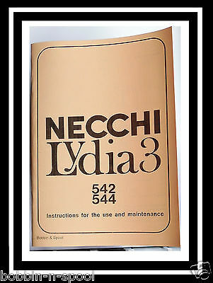NECCHI Lydia 3 Model 542 & 544 Sewing Machine Instruction Manual Book,No Machine