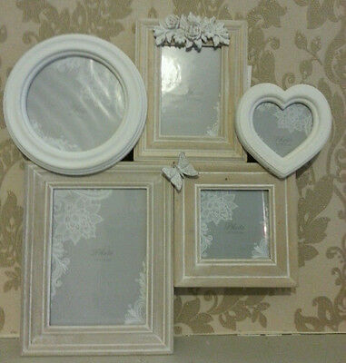 Chic Shabby 5 Multi Collage Wooden Photo Picture Frame Cream Natural Butterfly