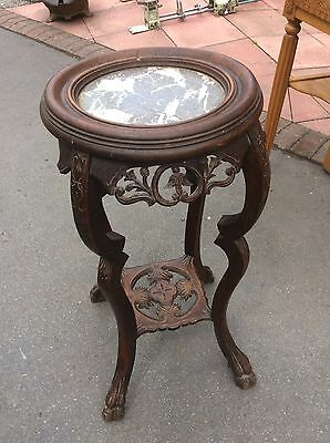 Antique Mahogany French Marble Topped Plant Stand