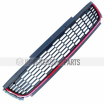 Vw Polo 6R 09-13 Black & Red Front Bumper Lower Centre Middle Grille Mesh Panel