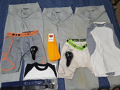 Boys L Under Armour Compression Sliding Shorts and Baseball Pants Lot of 12 item