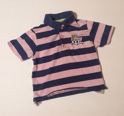 Baby Girls 18-24 Months Early Days Short Sleeved Striped Collared T-shirt Top