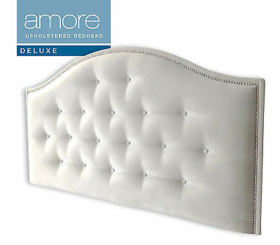 AMORE DELUXE CHROME Upholstered Bedhead / Headboard for Double Size Ensemble
