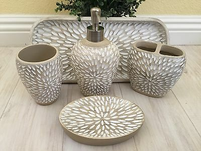 Cynthia Rowley 5PC Bathroom Accessory Set-White Washed Beige Resin Carved Petals